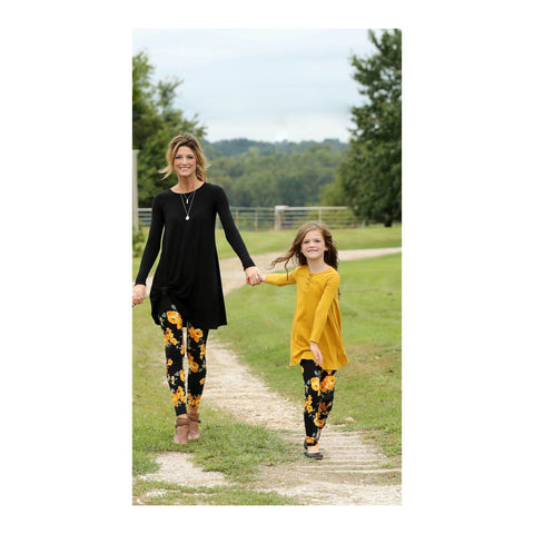 Tangerine Roses Mommy and Me Leggings