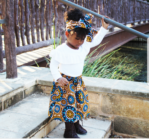 African Mustard Blue Skirt Set