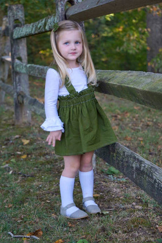 Avocado Green Suspender Skirt