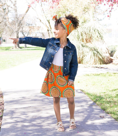 Orange African Skirt Set