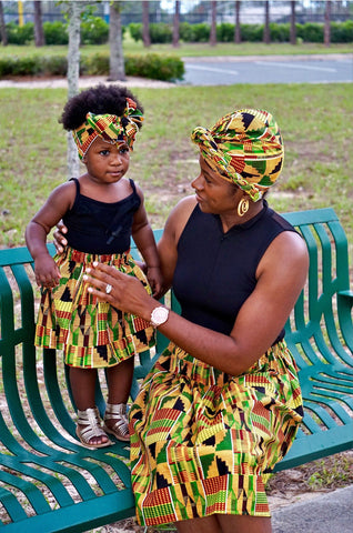 Kente Mommy and MeSkirts with Head Wraps.