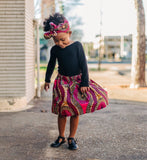African Pink Skirt and Head Wrap