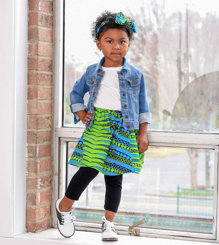 Blue with Green African Skirt Set
