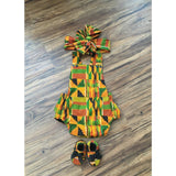Kente Baby Romper Set with Head Wrap and Shoes