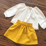 Girls Mustard Boho Skirt Set