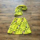 Yellow African Skirt and Headwrap Set