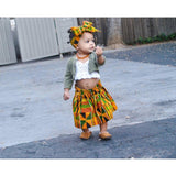 African Kente Skirt and Head Wrap Set
