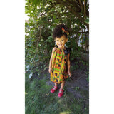 African Kente Pillowcase Dress with Head Wrap