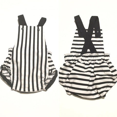 Black and White Stripe Baby Romper
