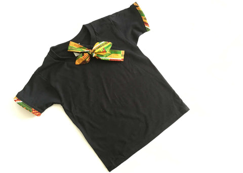 Girls Black Kente T-shirt and Knotted Head Tie
