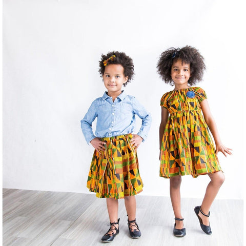 African Kente Big Sister Little Sister Dress Set