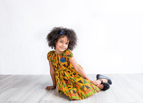 African Kente Peasant Dress