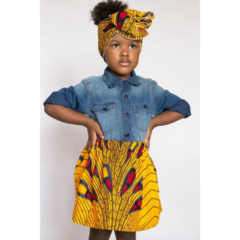 Yellow African Ankara Skirt with Head Wrap