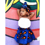 Girls African White Skirt with Head Wrap