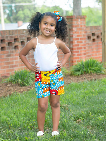 Blue Patchwork Print Shorts and Bow