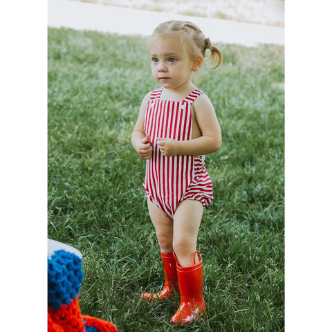 Red Candy Stripe Baby Romper