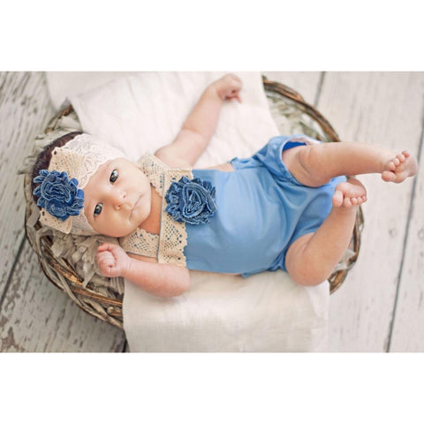 Blue Boho Baby Romper with Lace Headband