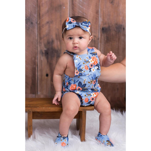 Blue Floral Girls Romper