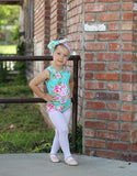 Girls Mint Floral Leotard