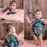 Grey Floral Bubble Romper