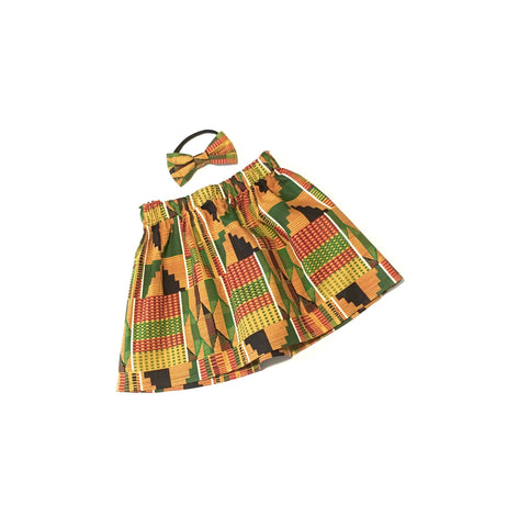 Kente African Skirt and Hair Bow