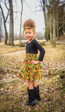 African Kente Skirt with Knotted Headband