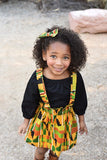 Girls African Kente Suspender Skirt
