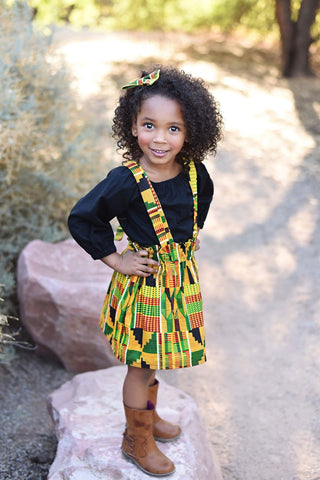Kente Suspender Skirt with Hairbow & Peasant Top