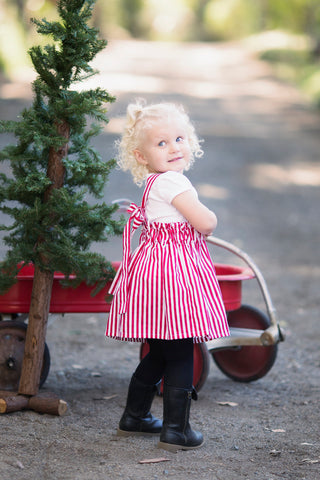 Red and white suspender skirt for Christmas or Valentine's Day