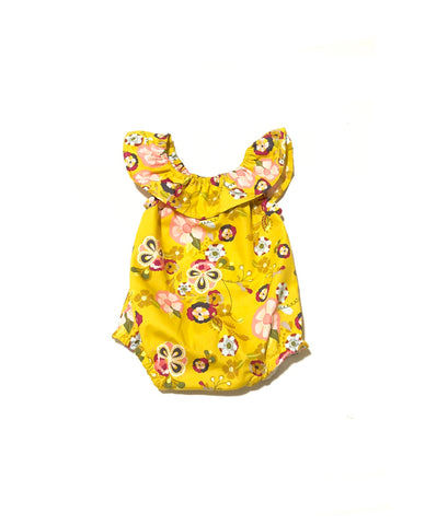 Mustard Yellow Boho Floral Romper