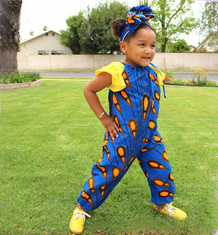 Girls Blue with Orange Jumpsuit