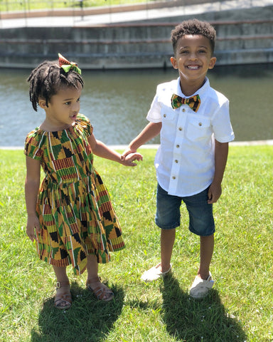 Kente African Dress and Bow Tie Set