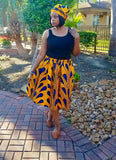 Women's Yellow with Blue Skirt