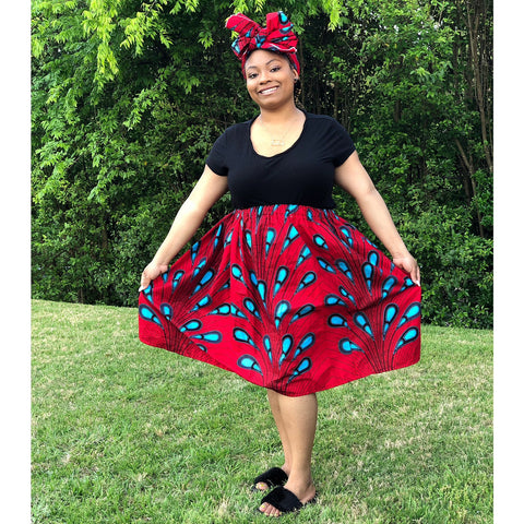 African Skirt Set - Red with Blue