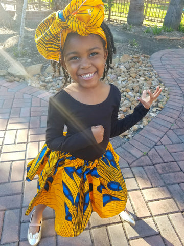 Girl's African Skirt Set - Yellow with Blue Print