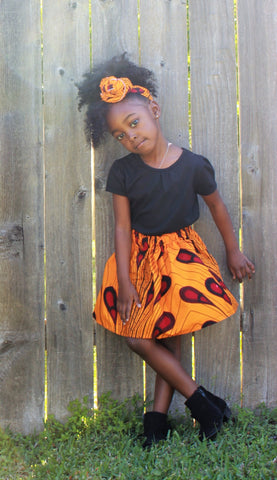 Girl's African Skirt with Head Wrap