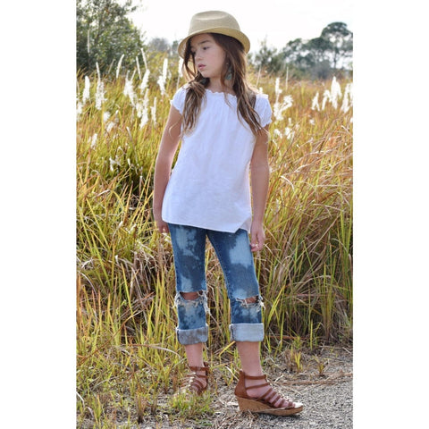 Girls White Boho Peasant Top