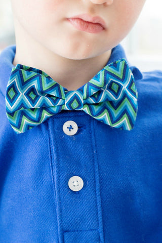 Boys Geometric Blue Bow Tie