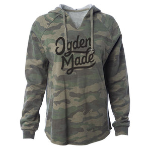 Apparel Camo / X-Small Ladies Script Hoodie