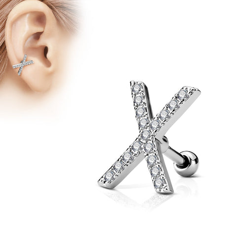 316L Surgical Steel Ball Back CZ Paved X Cartilage Ring