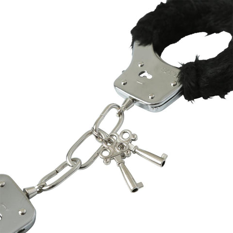 Image of Black Furry Handcuffs Cuffs