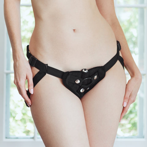 Image of Vibrating Black Velvet Strap On