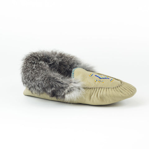 Gris - Mocassin bordé de fourrure|Grey - Lined moccasins with fur