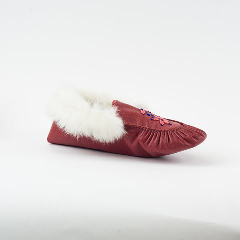 Rouge - Mocassin bordé de fourrure|Red - Lined moccasins with fur