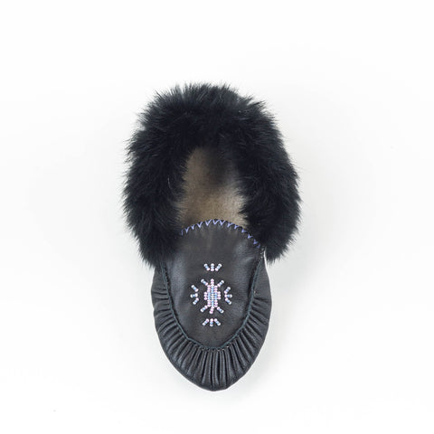 Noir - Mocassin bordé de fourrure|Black - Lined moccasins with fur