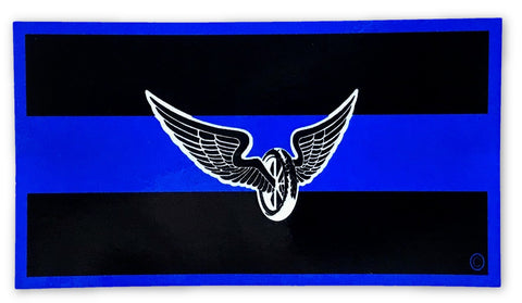 Blue Line Motorcycle Reflective Decal - FrontLine Designs, LLC