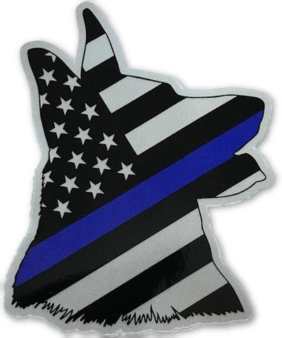 US Blue Line Flag K-9 Head Decal - FrontLine Designs, LLC