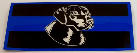 Blue Line Labrador Dog Head Decal