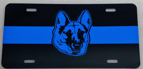Blue Line Reflective Blue Dog Head License Plate - FrontLine Designs, LLC