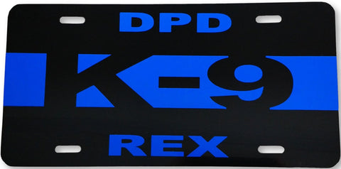 Blue Line K-9 License Plate - FrontLine Designs, LLC